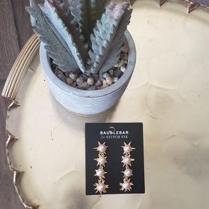 Baublebar Gold Pearl Star drop dangle earrings
